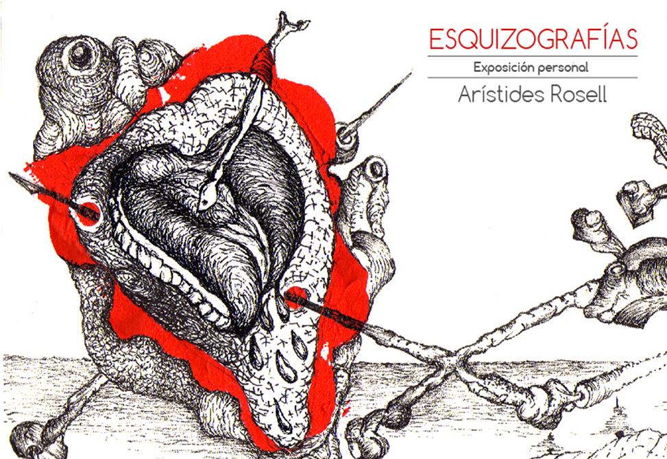 Tarjeta exposición Esquizografías automáticas de Aristides Rosell